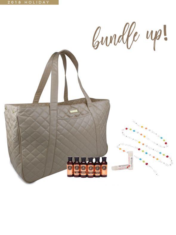 Youngevity GIGI HILL Bundle Bag - November Customer Special Tan Quilt